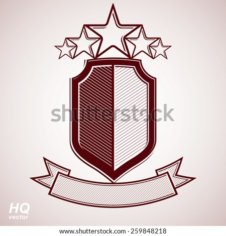 Vector eps8 aristocratic symbol. Festive graphic shield with five stars and curvy ribbon - decorative luxury security template. Corporate branding icon, success concept theme design element. - stock vector