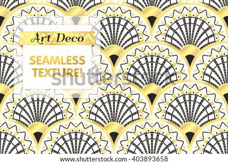 VECTOR eps 10. Art deco geometric Seamless pattern in black gold. Gold and silver print for Fabric, cloth, wallpaper in Art DECO style. Seamless Art Deco texture. Luxury chic print. See more in SET - stock vector