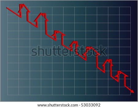 Vector eps8.  Blue housing graph with a downward projection using a red line of little houses. - stock vector