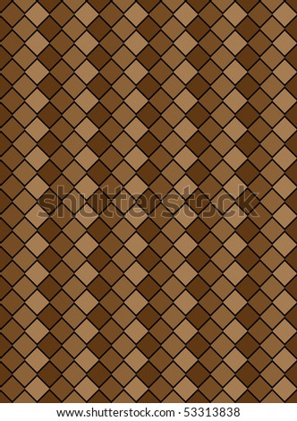 Vector eps8, brown variegated diamond snake style wallpaper texture pattern. - stock vector
