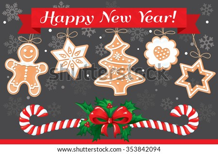 VECTOR eps 10. Christmas illustration. Gingerbread Christmas cookies, snowflakes, sweet candies and tree cookies, Christmas illustrations isolated element 2017 new year Sale 2017 Gingerbread Christmas