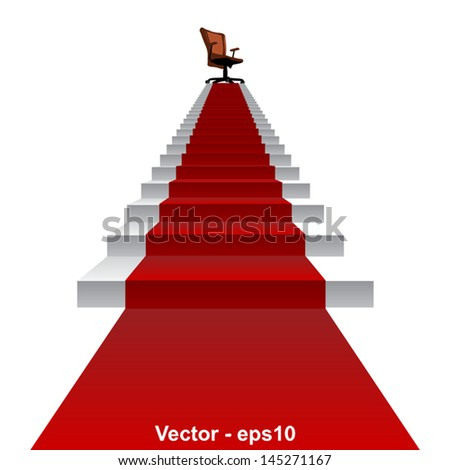 Vector eps concept conceptual 3d red carpet stair climbing to leader,chief or promotion chair on top isolated white background,for career,business,success,achievement,winner,goal,step or victory