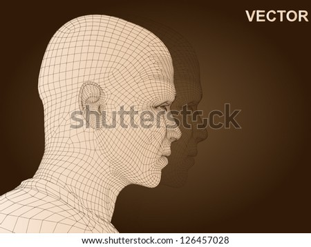 Vector eps concept conceptual 3D wireframe human male head isolated on brown background as metaphor for technology,cyborg,digital,virtual,avatar,science,fiction,future,mesh,vintage or abstract design