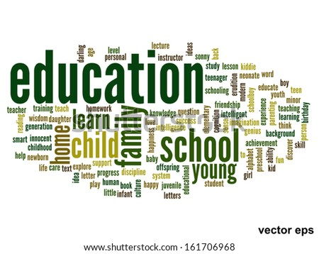 Vector eps concept or conceptual education abstract word cloud on white background,metaphor to child,family,school,life,learn,knowledge,home,study,teach,educational,achievement,childhood or teen - stock vector