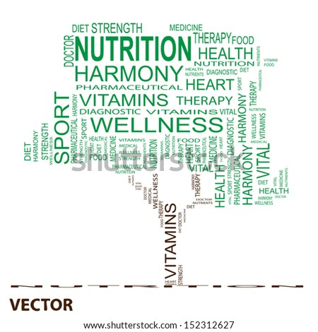 Vector eps concept or conceptual green text word cloud or tagcloud as tree isolated on white background, metaphor for health,nutrition,diet,wellness,body,energy,medical,vitamins,sport,heart or science