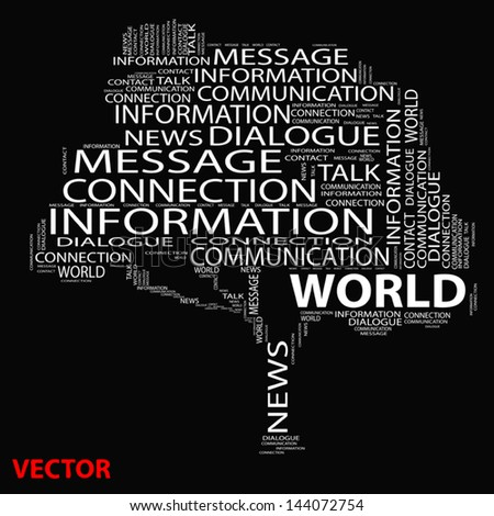 Vector eps concept or conceptual white tree word cloud on black background, metaphor for communication,speech,message,mail,relation,dialog,talk,report,contact,stair,climb,email,internet wordcloud - stock vector