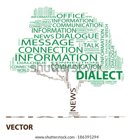 Vector eps conceptual green tree word cloud on white background, metaphor for communication, speech, message, mail, relation, dialog, talk, report, contact, stair, climb, email, internet wordcloud - stock vector