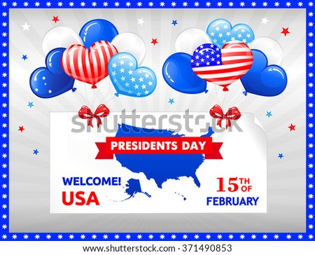 VECTOR eps 10. Design for PRESIDENTS DAY in the USA. Balloons, bow and stars, American flag in kind of balloons. You can use also for Saint Valentines day.