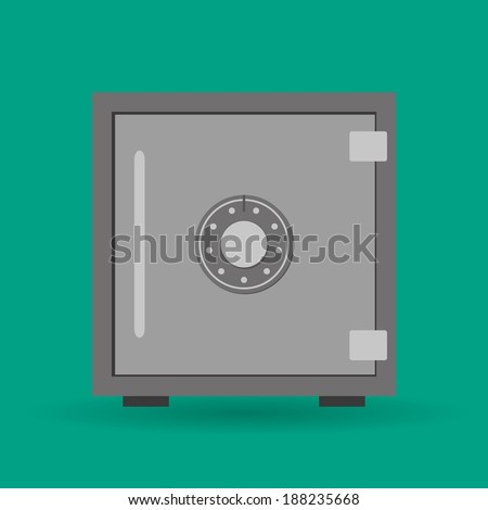 Vector EPS10 flat concept safe icon with shadow - stock vector