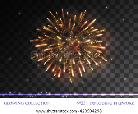 VECTOR eps 10. Glowing collection. Firework, light effects isolated and grouped. Transparent sunlight lens flare, stars. Shining elements and stars. Holiday fireworks. Red Firework, golden Firework    - stock vector