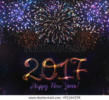 2015 new years festive fireworks background stock photo