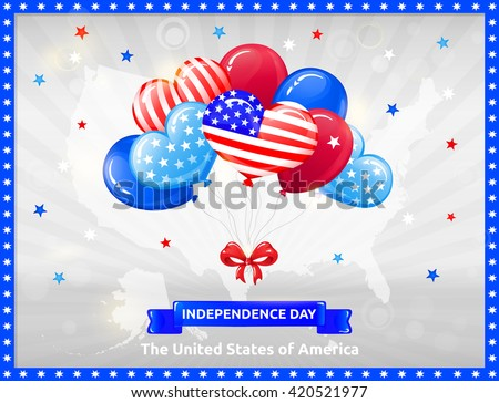 VECTOR eps 10. Happy Independence day in USA with Balloons. Celebration at the 4th July! Balloons, bow and stars, American flag in kind of balloons. American balloons for all holidays. American flag