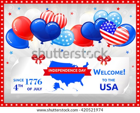 VECTOR eps 10. Holidays in the USA design. Balloons, American flag in kind of balloons for USA independence day. American flag inside the balloons. USA independence day at 4th july. American holiday