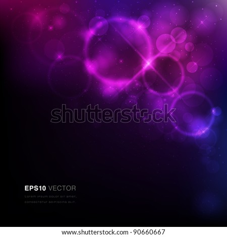 Vector EPS10 illustration of a nebula with stars and vibrant light - stock vector