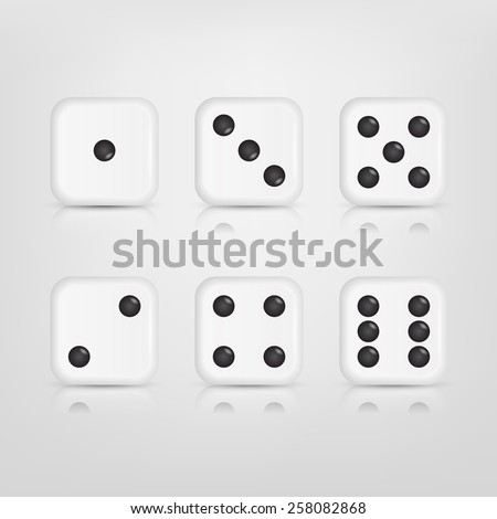 Vector EPS10 Illustration of a set of white dices with reflection - stock vector