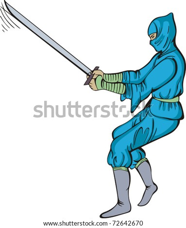 Vector EPS illustration of Japanese ninja striking a combat attitude and holding a sword.