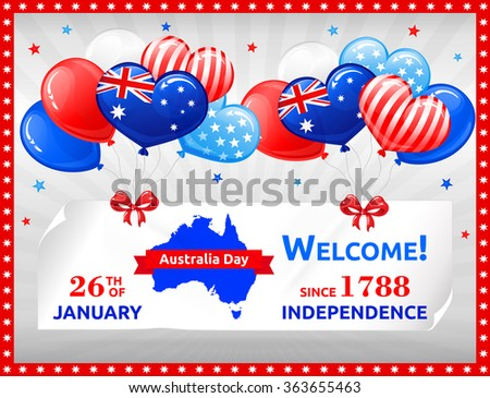 VECTOR eps 10. Independence Day in Australia. Design with balloons, flag, map and bows. More quality designs for Holidays in my portfolio!
