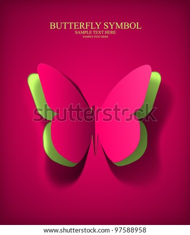 Vector eps10 paper cut- out butterfly illustration with smooth, and pure vector shadows - stock vector