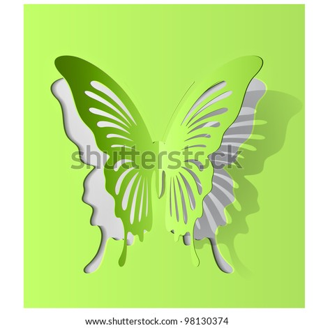 Vector eps10 paper cut- out butterfly illustration with smooth vector shadows - stock vector
