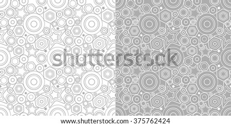 VECTOR eps 10. 2 seamless patterns with stars, rounds - stock vector