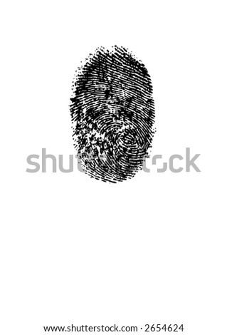 Vector EPS Smudged ink fingerprint or thumbprint on white background. Unique patterns and swirl