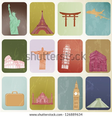 Vector EPS 10- Travel landmark around the world - stock vector