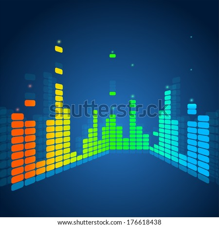 Vector equalizer rainbow - stock vector