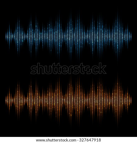 Vector equalizer, sound waves. Music Digital Equalizer. - stock vector