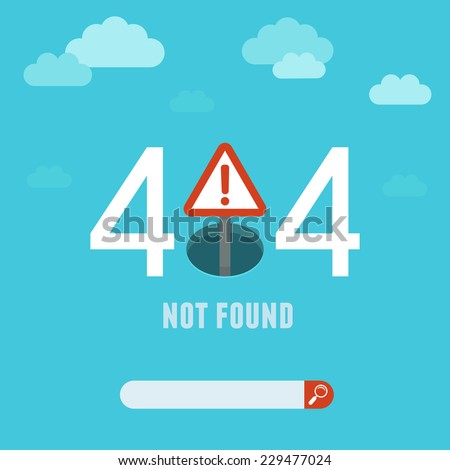 Vector 404 error page template - illustration in flat style - page not found on website - stock vector