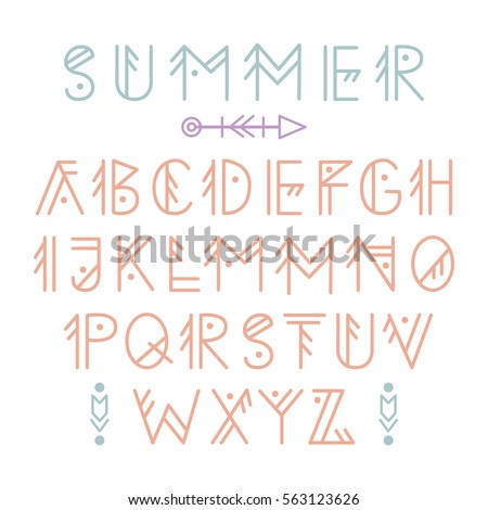 English Alphabet In Tribal Linear Style Decorative Letters Set For