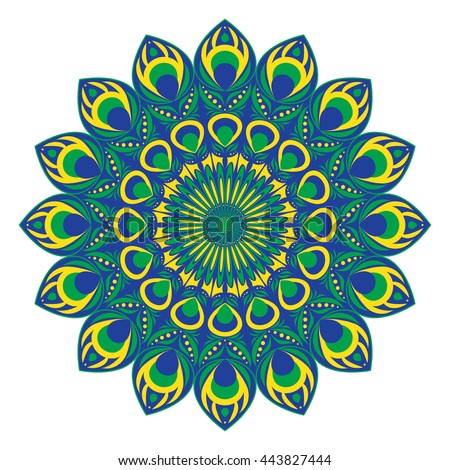 Vector ethnic circular pattern or mandala with elements of peacock and fire-bird tail in east, indian, Brazilian, Mexican and russian style. - stock vector