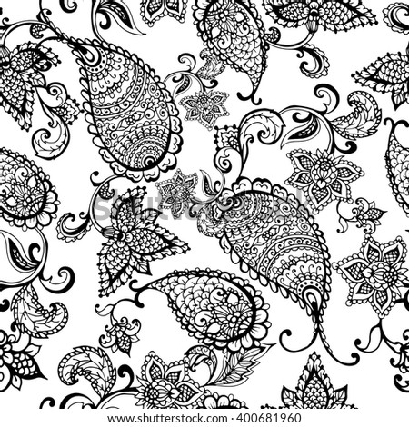 Vector ethnic Indian paisley seamless pattern. Black and white. Hand drawn vector illustration for prints, fabric, wrapping and other design.  - stock vector