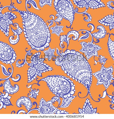 Vector ethnic Indian paisley seamless pattern on orange. Hand drawn vector illustration for prints, fabric, wrapping and other design.  - stock vector