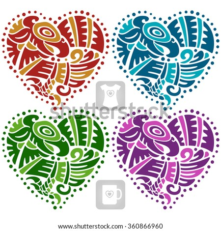 Vector ethnic ornament in the shape of heart. American Indians