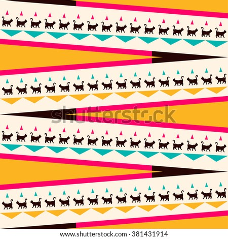Vector ethnic pattern. Abstract background. Geometric borders. Traditional colorful ornament with cats. - stock vector