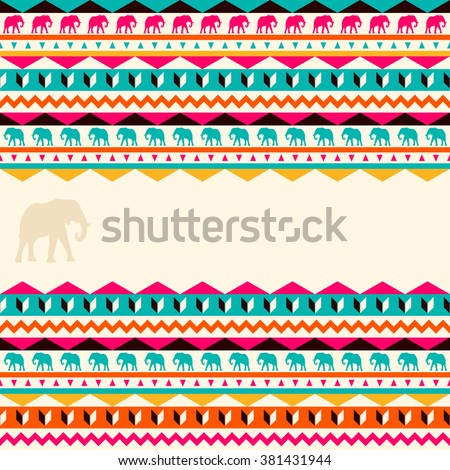 Vector ethnic pattern. Abstract background. Geometric borders. Traditional colorful ornament with elephants. - stock vector