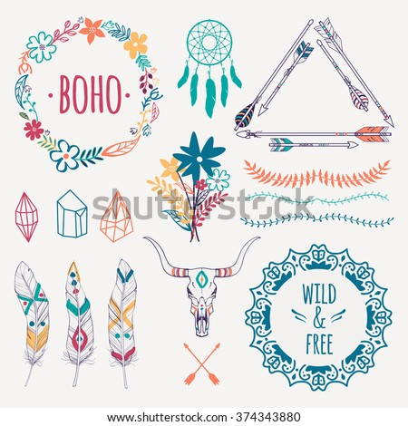 Vector ethnic set with arrows, feathers, crystals, floral frames, borders, dream catcher, bull skull. Modern romantic boho style. Templates for invitations, scrapbooking. Hippie design elements. - stock vector