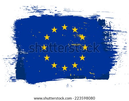 Vector EU grunge style bright isolated flag illustration - stock vector