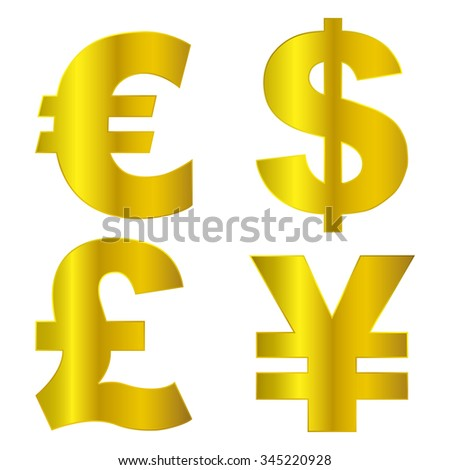 vector euro,  dollar,  pound and   yen ,Currency signs - stock vector