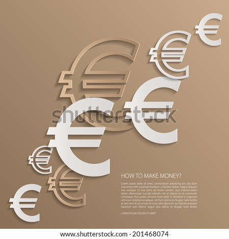 Vector euro signs background.