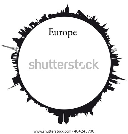 Vector Europe Circular background with skylines of europeans capitals - stock vector