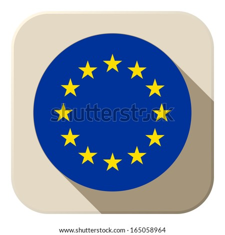 Vector - Europe Flag Button Icon Modern - stock vector