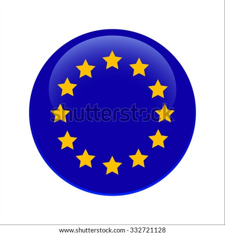 Vector - Europe Flag Glossy Button - stock vector
