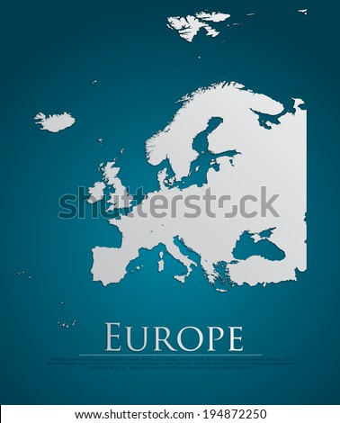vector Europe Map card paper on blue background, high detailed - stock vector