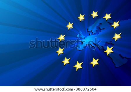 Vector Europe map with European union flag. Blue background and yellow stars. European union star. European union vector background. European Union. Vector blue flag of European union.   - stock vector