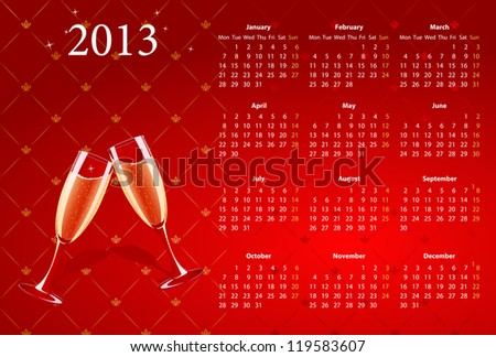Vector European red calendar 2013 with champagne, starting from Mondays