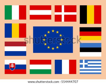 Vector European Union flag set