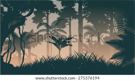 vector evening in jungle - stock vector