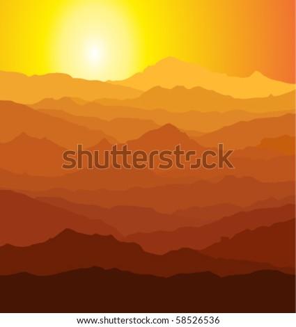 vector evening in mountains - stock vector