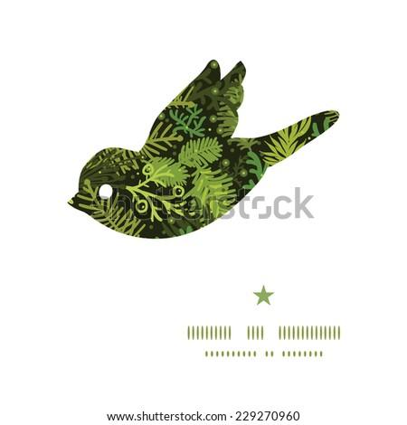 Vector evergreen christmas tree bird silhouette pattern frame - stock vector